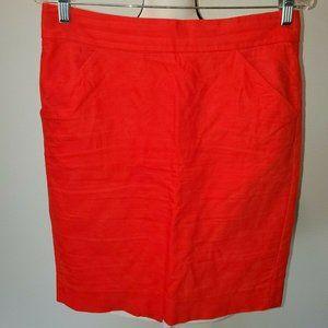 J Crew The Pencil Skirt Orange Size 6